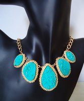 chunky necklaces - Turquoise Choker Necklace Ethnic Fashion Classic Statement Necklaces Bib Chunky Jewelry Hot Sale Black Women Pendent