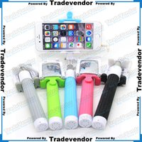 Wholesale Extendable Telescoping Stick Selfie mm Wired Handheld Monopod With Camera Shutter Button Control For iPhone Samsung HTC Mobile Phone
