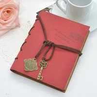 Wholesale 2015 Newest Vintage Magic Postmark Key String Retro Leather Note Book Journal Diary Notebook Random Color F60 JJ0276W