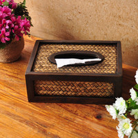 bamboo tissue box - New arrive vintage country style hand bamboo weaving Tissue Container Hotel Bamboo napkin boxes quality car tissue boxes