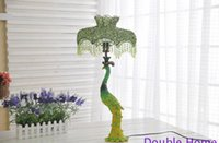 asia nepal - Nepal Luxury quality iron resin E27 table lamp handmade multicolour acrylic plastic beaded vintage green peacock with EU plug