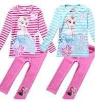 Wholesale Frozen Children clothing Long sleeved T shirt Leggings two piece Elsa kids leisure Outfits Stripe clothes sets YS