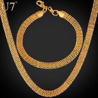 Wholesale quot K quot Stamp Necklace Set New Real Gold Plated Stainless Steel Unique Net Chain Necklace Bracelet Men s Jewelry Set U7 S584