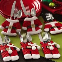 Wholesale Happy Santa Claus Tableware Christmas Dinner Party Decor Christmas Decorations can choose trousers or coat
