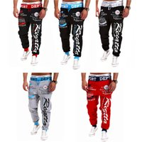 Wholesale Men s elastic waist Fitness Pants Man letters printed loose casual pants sports trousers