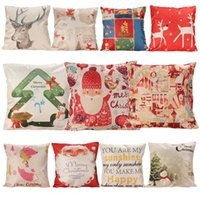Wholesale Linen Cotton Christmas Pattern Square Cushion Cover cm for Car Chair Sofa Home Decorative Cushion Covers