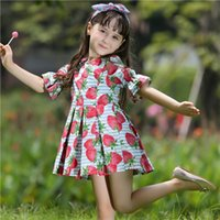 Cheap Pettigirl New Retail Summer Woven Baby Girls Dresses With Fruit Pattern Children Fashion Dresses For Kids Clothes GD80626-6