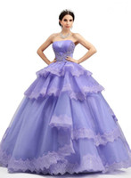 Wholesale Classic Purple Ball Gown Quinceanera Dresses Cascading Applique Ruffles Strapless Sleeveless Lace Up Floor Length Back Girls Pageant Gowns