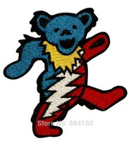 bear grateful dead - 3 quot Grateful Dead Dancing Marching Lightning Bear Music Band Heavy Metal Iron On Patch Tshirt MOTIF APPLIQUE Rock Punk Badge