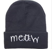 black mens hats - 4 new styles meow Beanie hats Black grey solid high quality mens or women winter knitted most popular sports caps new arrive
