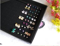 Wholesale New Earrings Ring Organizer Show Case Jewelry Display Holder Box New Black Slots Storage Ear Pin Display Boxes