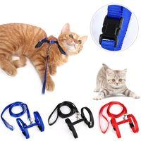 aluminum collars - Hot Sales Kitten Cat Collars Leashes Adjustable Durable Nylon Colors Fashion Design MD1