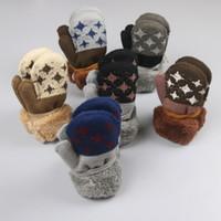 Wholesale New knitting winter children gloves child star plus velvet padded two layer thermal gloves lanyard DHL free