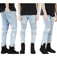 american medium - 2016 New Mens Pleated Distressed Straight Slim Fit Trousers Biker Jeans Denim Pants