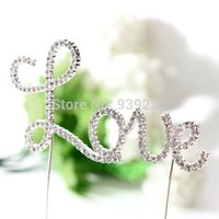 Wholesale Romantic Crystal Silvery Love Letter Cake Topper Wedding Engagement Valentine Decoration