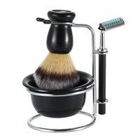shaving badger silver - 4 In Men s Shaving Razor Set Dry Wet Male Silver Facial Cleaning Tool Shaving Holder Razor Soap Bowl Badger Brush Set