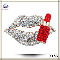 asian online shopping - Online Shopping China Sexy Lip Shape Brooch Full Of Crystal With Lipstick Hot Sale