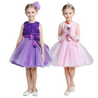Wholesale 2015 girls rose upper party dress baby girl flower princess dresses big bowknot kids colors sleeveless tutu J031102 certified by CTI USA
