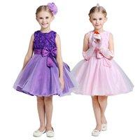 Wholesale 2015 girls rose upper party dress baby girl flower princess dresses big bowknot kids colors sleeveless tutu J031102 certified by CTI USA