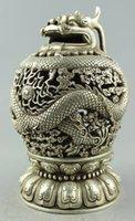 Wholesale Old Handwork Tibet silver carved Dragon plate Tengyun driving fog Censer