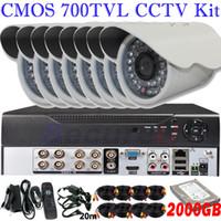 al por mayor kit venta de vigilancia de vídeo-kit de circuito cerrado de televisión venta libre del envío 8ch cerrado de seguridad y sistema de circuito monitor de video vigilancia 8ch D1 HD DVR HDMI 2000 GB de disco duro de 2 TB