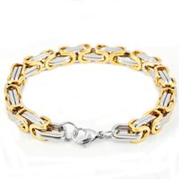 Wholesale fashion gold silver L stainless steel thick bracelets jewelry for men SB01206