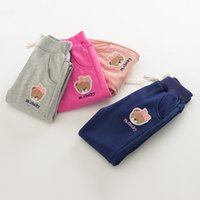 Wholesale children pant Bear embroidery cotton girls sports casual pants