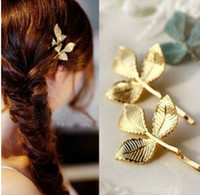 Wholesale The new three dimensional leaves European and American vintage jewelry small hairpin