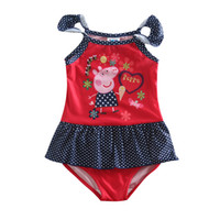 Wholesale Girls Swimwear Cute Swimwear for Girls Summer Style Cartoon One Piece Swimming Suit Cartoon Pig Printing R4786