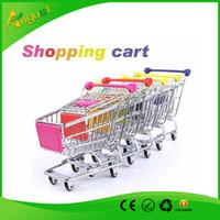 beverage cart - Novelty Cute shopping Cart Mobile Phone Holder Pen Holder Mini Supermarket Handcart Shopping Utility Cart Phone Holder