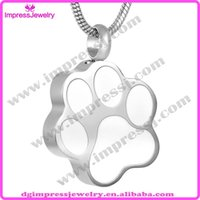 animal urns - IJD8451 L Stainless Steel Necklace Pendants Animals Dog Ashes Cremation Jewelry White enamel pet paw prints urn pendant