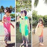 Wholesale Cheap Hot New In Summer Korea Children Clothings Colorful Hawaiian Maxi Long Dress yrs Baby Girl Beach Cotton Clothes