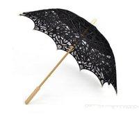 victorian parasol - Vintage Black Handmade Cotton Sun Batten Victorian Lace Parasol Umbrella
