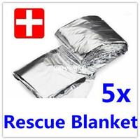 Wholesale 5 x Emergency Rescue blanket Survival curtain outdoor Waterproof life saving Survival military blanket
