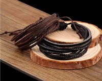 bead wrap bracelet diy - Genuine Leather Bracelet Wax Rope Braided Leather Bracelet Braided Charm Wrap Leather Bracelet DIY Men Women Unisex DHL Free