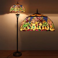 antique stained glass lamps - European Style Garden Story Tiffany Floor Lamp Stained Glass Antique Dragonfly Light Coffee Bar Living Room Floor Lamp