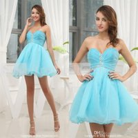 baby cocktail dresses - Sexy Strapless Sweetheart Neckline Cocktail Crystal Prom Party Mini A Line Short Organza Baby Blue Homecoming Dresses UM763