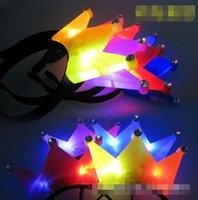 Wholesale 100PC Hot Sale crown card luminous issuer emitting horn light emitting headband LED toys