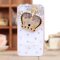 Wholesale new arrival rhinestone crystal crown mobile phone case cover for iphone s iphone s hard back skin case
