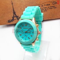 wrist watches for men - Geneva Rubber Watch Candy Jelly Fashion Unisex Silicone Quartz Wrist Watches For Men Women Wristwatch Colors DHL