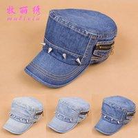 Wholesale Special Korean spring and summer fashion denim flat cap rivet Ms cap sub a002