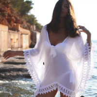 Wholesale 2016 Sexy Sheer Swimwear Bathing Suit Cover Up Crochet White Pareo Beach Dress Summer Bikini Swimsuit Cover Up Plus Size OXL070306
