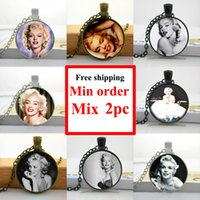 actress glasses - NS Marilyn Monroe Necklace Actress Pendant Necklace Glass Dome Pendant Gifts For Fans