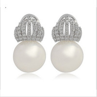 Wholesale Crown Gold Jewellery - 1pair Elegant Jewellery Triple crown zircon shell pearl white gold filled deop earrings for women
