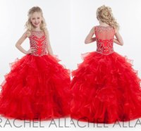 girls pageant dresses size 10 - RACHEL ALLAN Cheap Crystal Flower Girl Tiered PLeats Flower Girl Dresses Gowns Little Girls Pageant Dresses Size Little Pageant Gowns