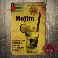 antique cocktails - Mojito cocktail Metal Poster Retro Pub Home Craft Decor Vintage Wall art Sign CM Mix Items