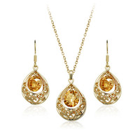 Wholesale 2015 New Fashion Hollow Hearts Gold silver Plated Zircon Drop Earrings Pendant Necklace Sets Retro palace styles
