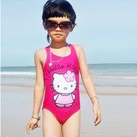Wholesale 10PCS Hello Kitty baby girl colorful swimwear Children s Day gift girl nylon piece swimsuit swimsuit swimsuit new