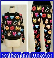 Wholesale Harajuku New Winter D Tracksuit Print Emoji Jogging Suits Sweater Shirts sweaterPants Set Men women Sportwear