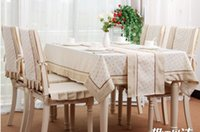 lace tablecloth - B3 High end European beige cherry lace garden house tablecloths cotton fabric hotel tablecloth dining chair cover